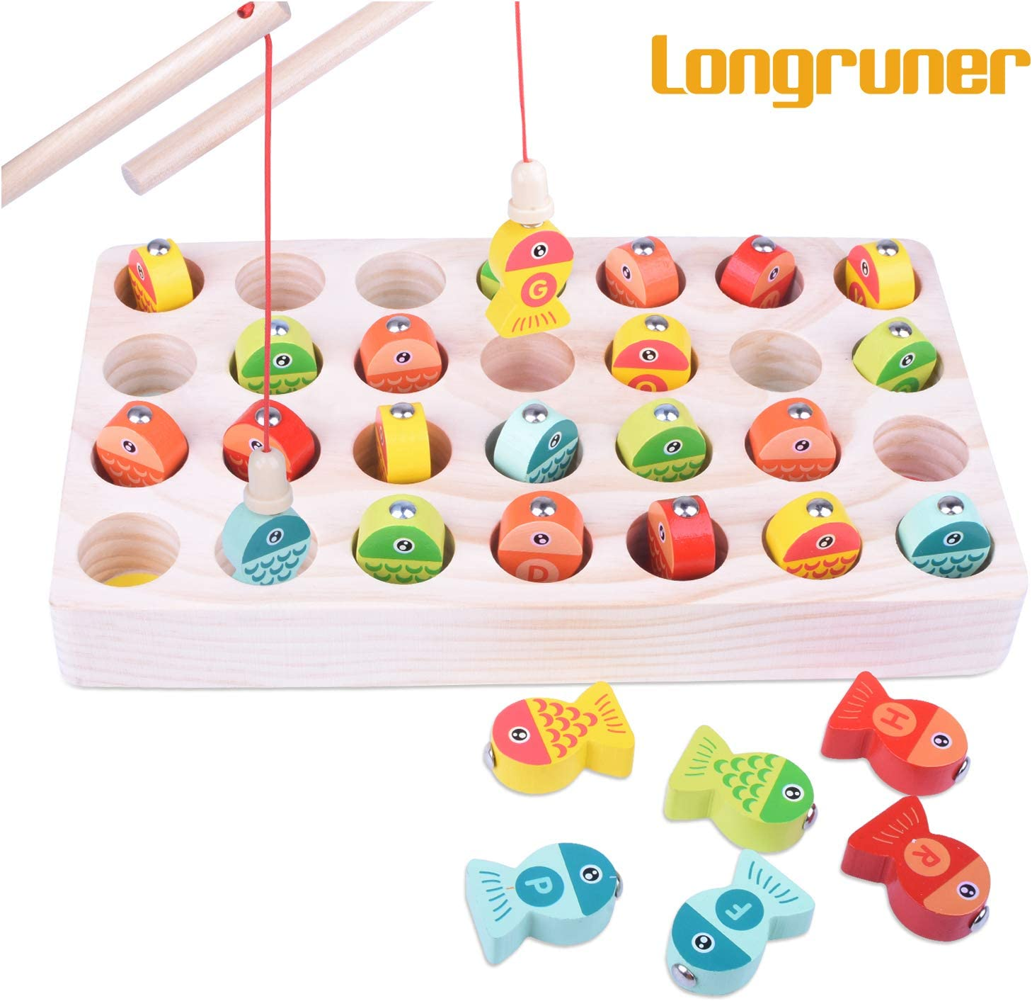 Longruner Juego de Pesca magnética de Madera Juego de Mesa de Puzzle Juegos para 3 4 5 años Niño Niña Juguetes para niños Juego de combinación Juguete LR03