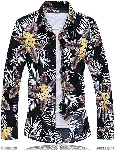 ZODOF Camisa de Vestir para Hombre Camisa de Lino Estampada Funky de Manga Larga Camisa Casual Elegante Floral Tops Patrón único: Amazon.es: Ropa y accesorios