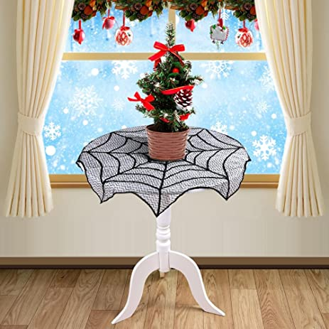 OurWarm 30 Inch Round Lace Table Runner Black Spider Web Table Topper Cloth  For Christmas,