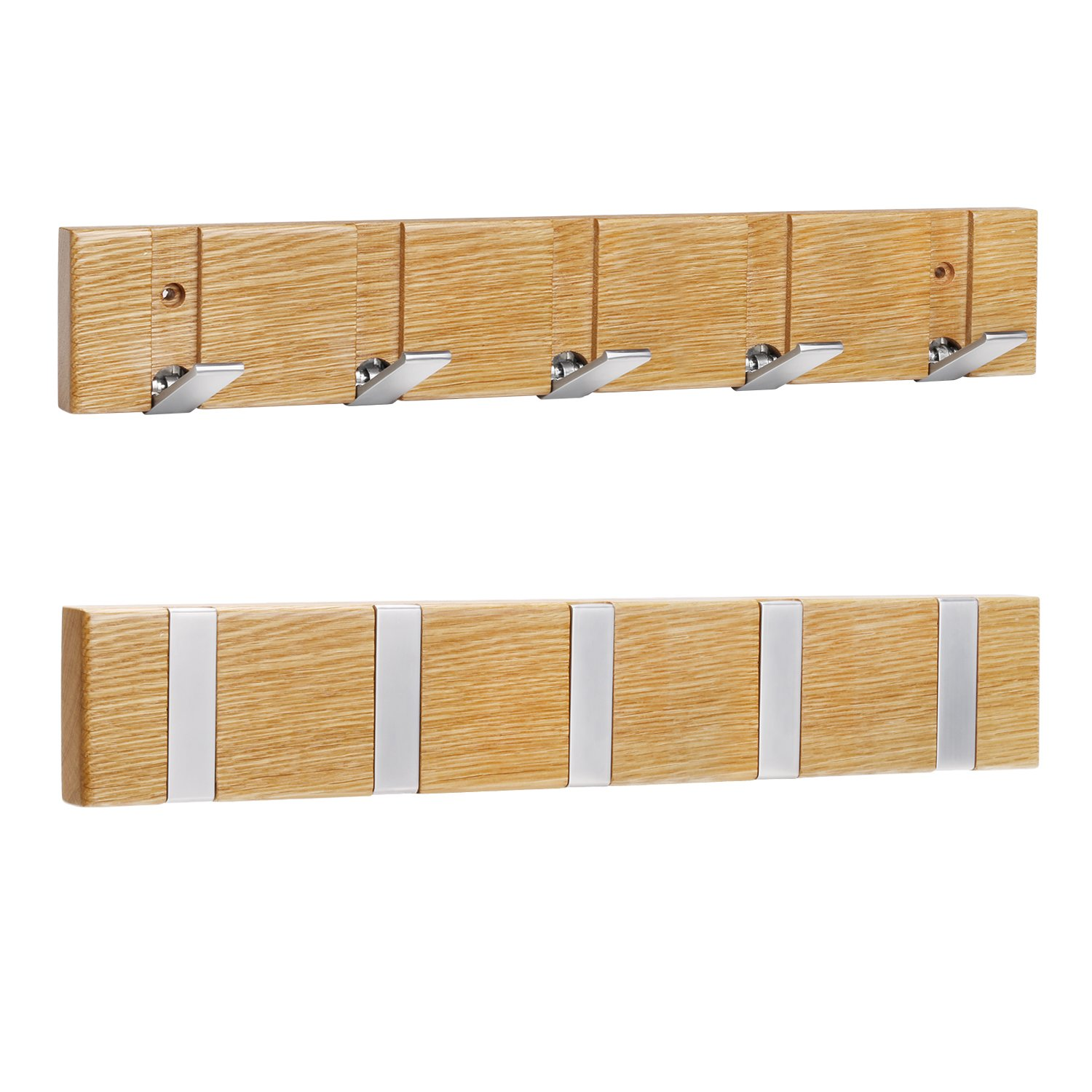 WiHoo Coat Rack Wall Mounted, Coat Hooks Wall Mounted with 5 Folding Hooks with Oak Solid Wood Body and Zinc-nickel Alloy Coat Hooks for Your Office Room, Bedroom, Bedroom and Bathroom