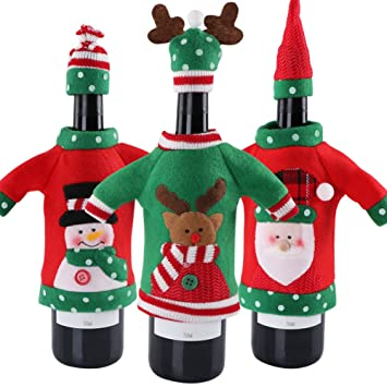 aparty4u 3pcs ugly sweater christmas wine bottle cover handmade sweater wine bottle bags for christmas