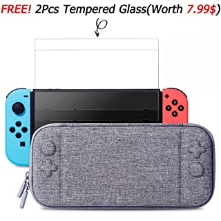 MayBest Slim Case for Nintendo Switch with 2pcs Glass Screen Protectors- Protective Hard Portable Travel Carry Case Shell Pouch with 10 Game Cartridges for Nintendo Switch Console & Accessories