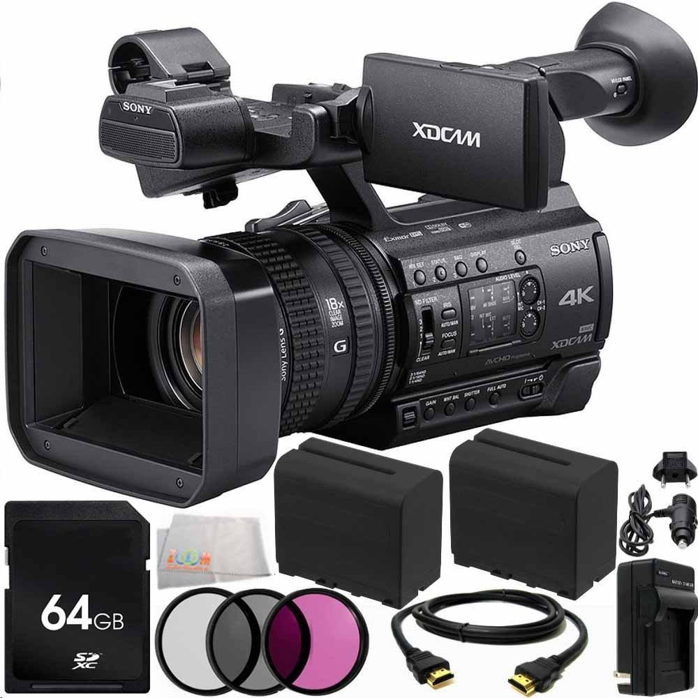 Sony PXW-Z150 4K XDCAM Camcorder 11PC Accessory Bundle. Includes 64GB SD Memory Card + 2 Replacement F970 Batteries + AC/DC Rapid Home & Travel Charger + 3PC Filter Kit (UV-CPL-FLD) + HDMI Cable + Microfiber Cleaning Cloth Centre Drone