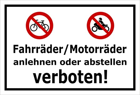 Cartel prohibido bicicletas Motos entornar o colocar - 15 x ...