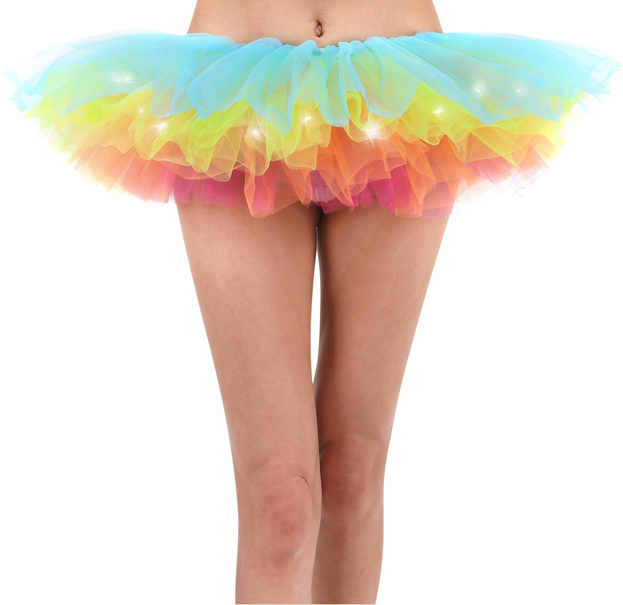 Women's Classic Fancy 5 Layered LED Light Up Tutu Party Skirt, Rainbow2
