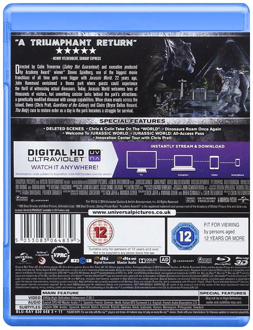 Jurassic World Edizione: Regno Unito Reino Unido Blu-ray: Amazon.es: Chris Pratt, Bryce Dallas Howard, Irrfan Khan, Vincent DOnofrio, Ty Simpkins, ...