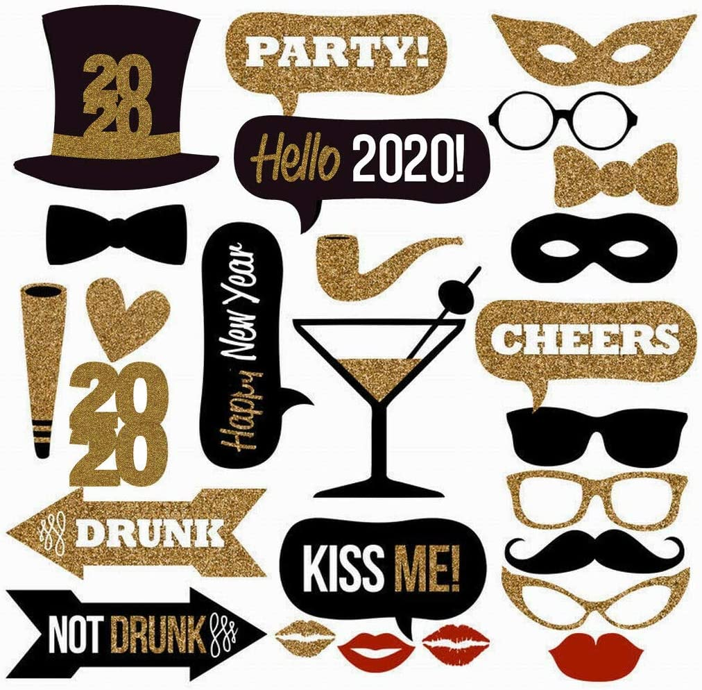 21PCS 2018 New Year/'s Eve Party Supplies Christmas Masks Photo Booth Props Decor