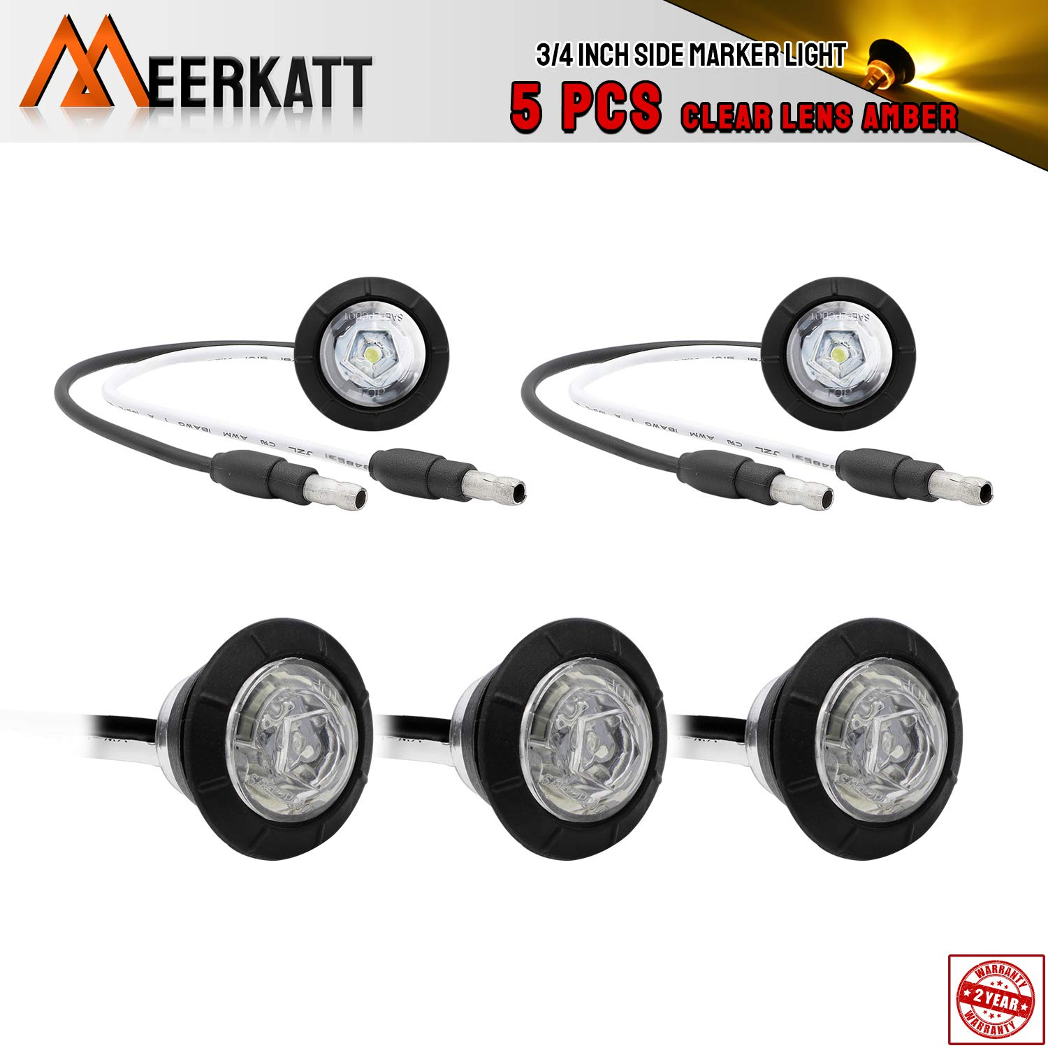 Meerkatt 3//4 inch Small Round Clear Lens 5 Amber Pack of 10 5 Red Special Generation Side LED Marker Indicators Lights Clearance Lamp Ship Boat Trailer Van Bus Truck Camper RV 12V DC Waterproof