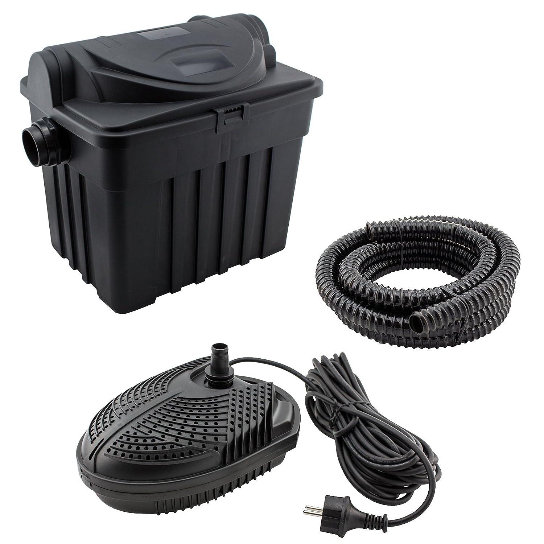 JAD YT-01 Filtersystem UVC 9 Watt Teichpumpe 1500l//h Schlauch und Zubeh/ör Teichfilter-Set f/ür Teiche bis 6000L: inkl Pumpe UV-Filter