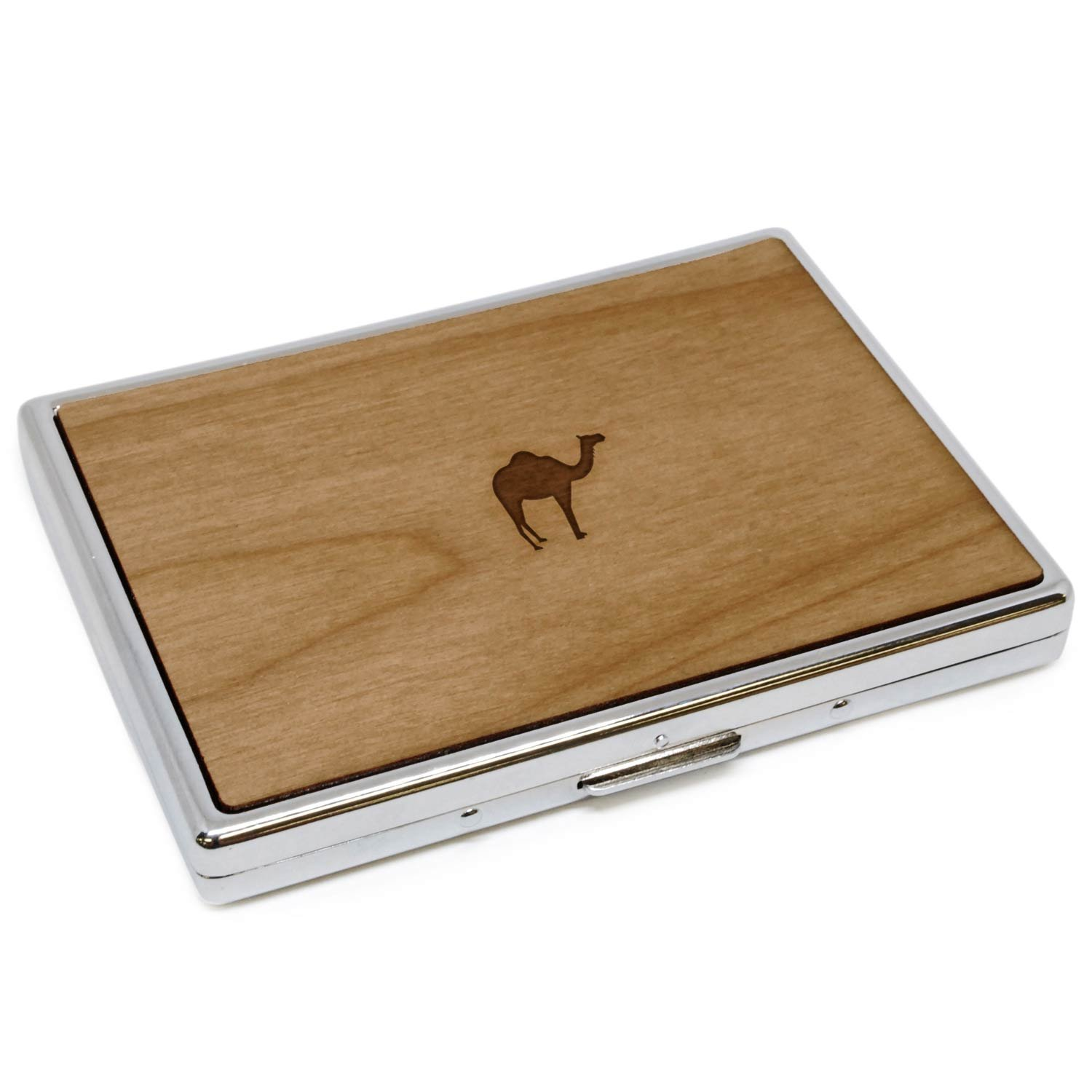 WOODEN ACCESSORIES COMPANY Wooden Cigarette Cases With Laser Engraved Camel Design - Stainless Steel Cigarette Case With Wooden Panel - Perfect Fit For Regular And King Size Cigarettes