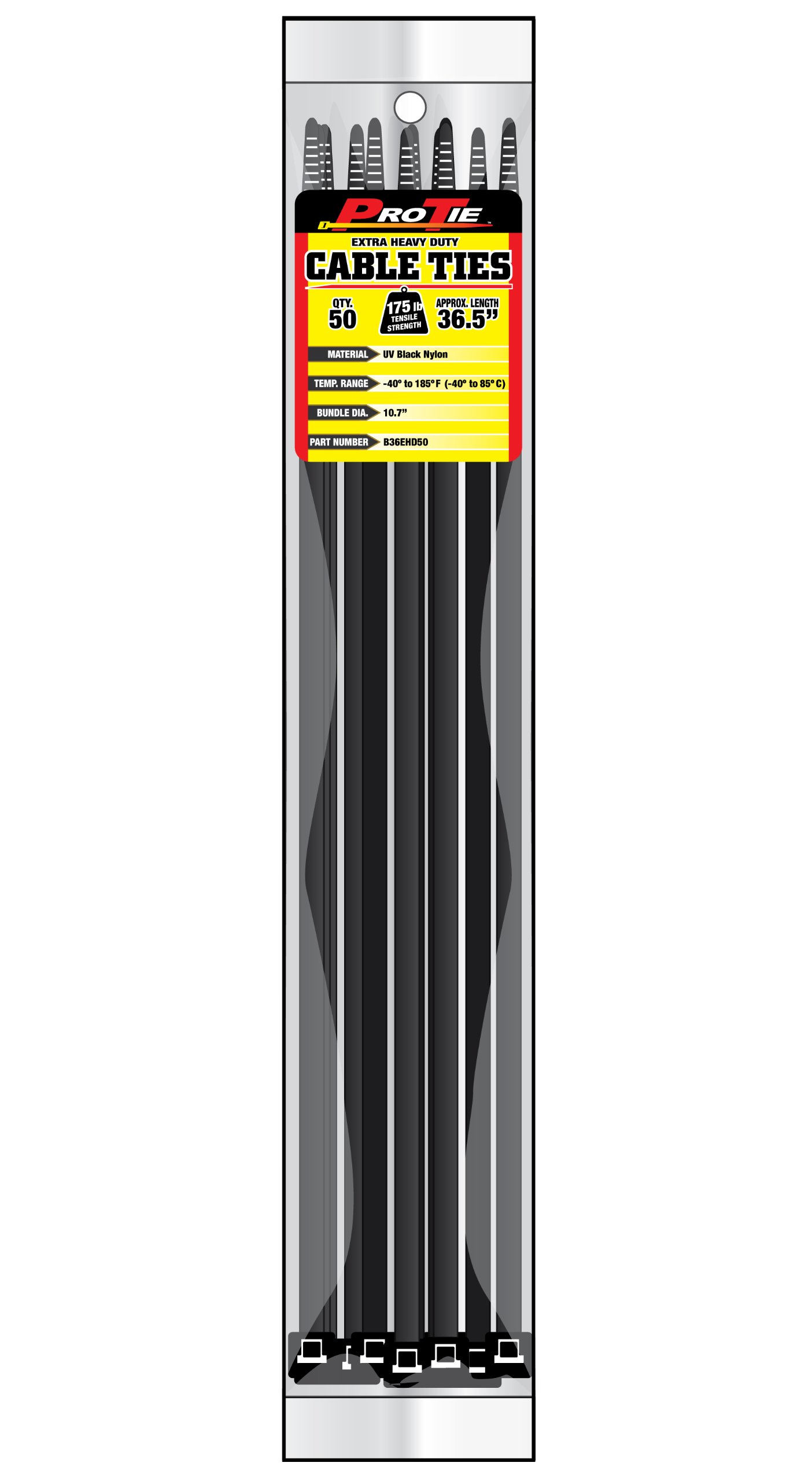 Pro Tie B36EHD50 36.5-Inch Extra Heavy Duty Standard Cable Tie, UV Black Nylon, 50-Pack