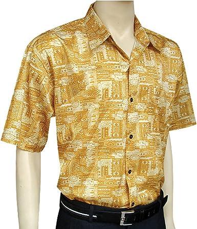 Mens YELLOW Short Sleeve Thai Silk Hawaiian Shirt Xl