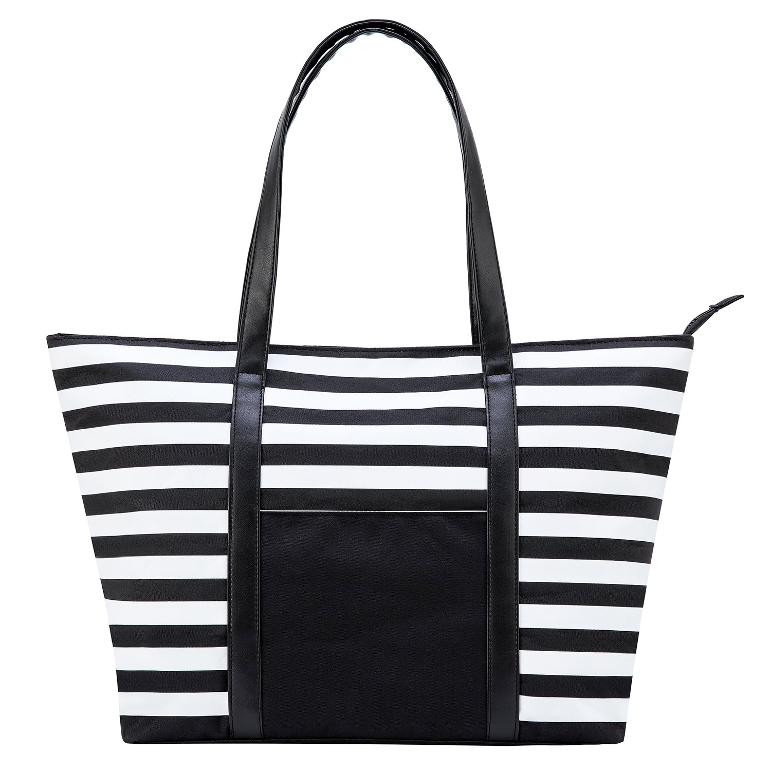 Augoog Large Beach Bag Shoulder Bag Waterproof Oxford Beach Tote with Leather Handles,Perfect Weekend Carry on Travel Tote Beach Bag,Black /& White