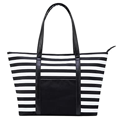 82017ce2ed Cieovo Large Beach Bag For Women Waterproof Oxford Tote Bags With Leather  Handle (Black-