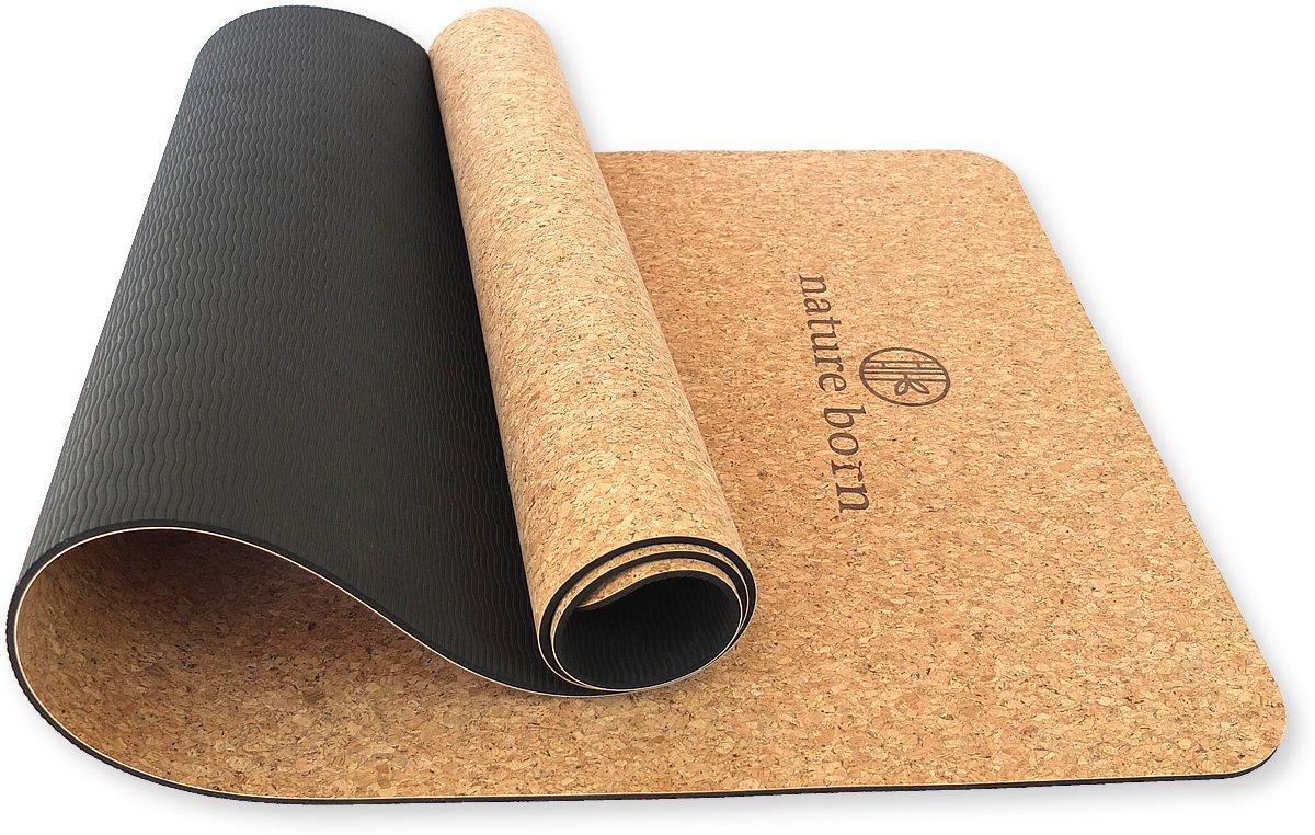 Nature born Trainings- und Yogamatte aus Kork und Naturkautschuk, 5mm Stärke, Rutschfest, komplett mit Tragegurt, 100% umweltfreundlich, für Allergiker geeignet.