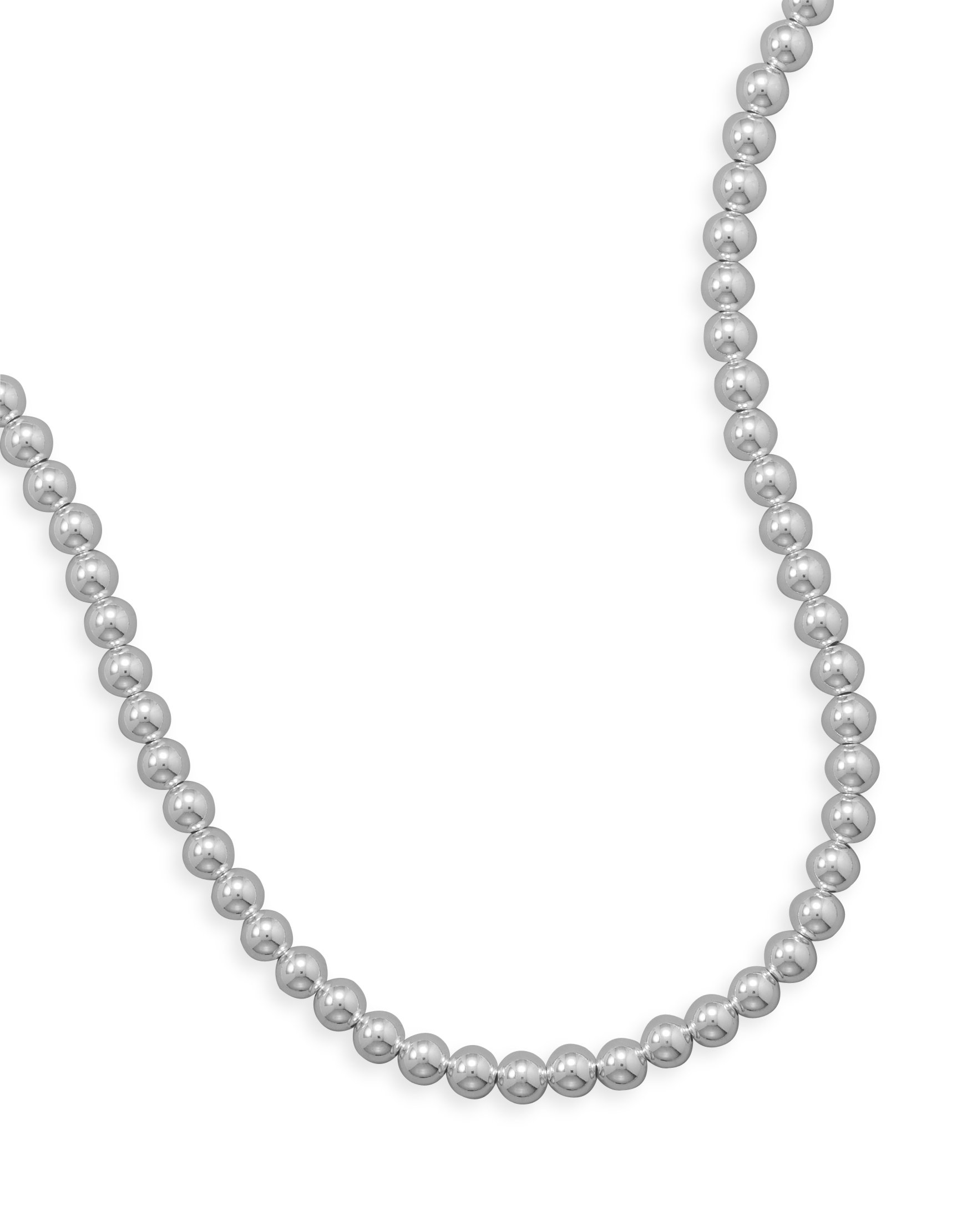 Sterling Silver Necklace, Lobster Clasp, 24 inch long, 8mm Bead/Ball