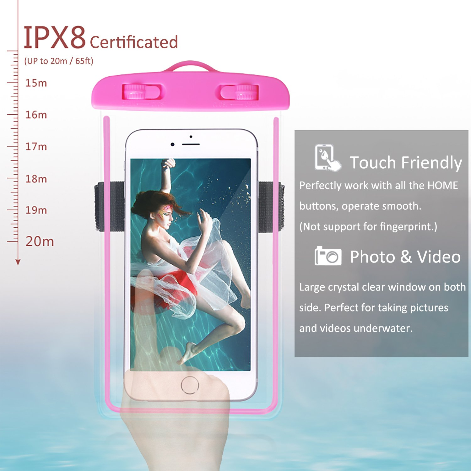 4-Pack Waterproof Case with Armband & Neck Strap, Luminous Transparent Cellphone Dry Bag Phone Pouch for iPhone X/8/7Plus/6S, Huawei, Samsung Galaxy Note HTC LG Sony up to 6.0'' (Assorted E) by Yii Design (Image #3)
