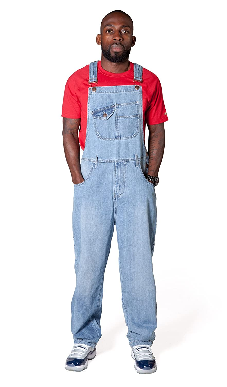 Faded Blue Denim Overalls Roll-up Leg USKEES BILL Loose Fit Mens Dungarees