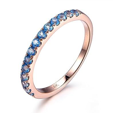 natural swiss blue topaz wedding band14k rose goldhalf eternity2mm round - Topaz Wedding Ring