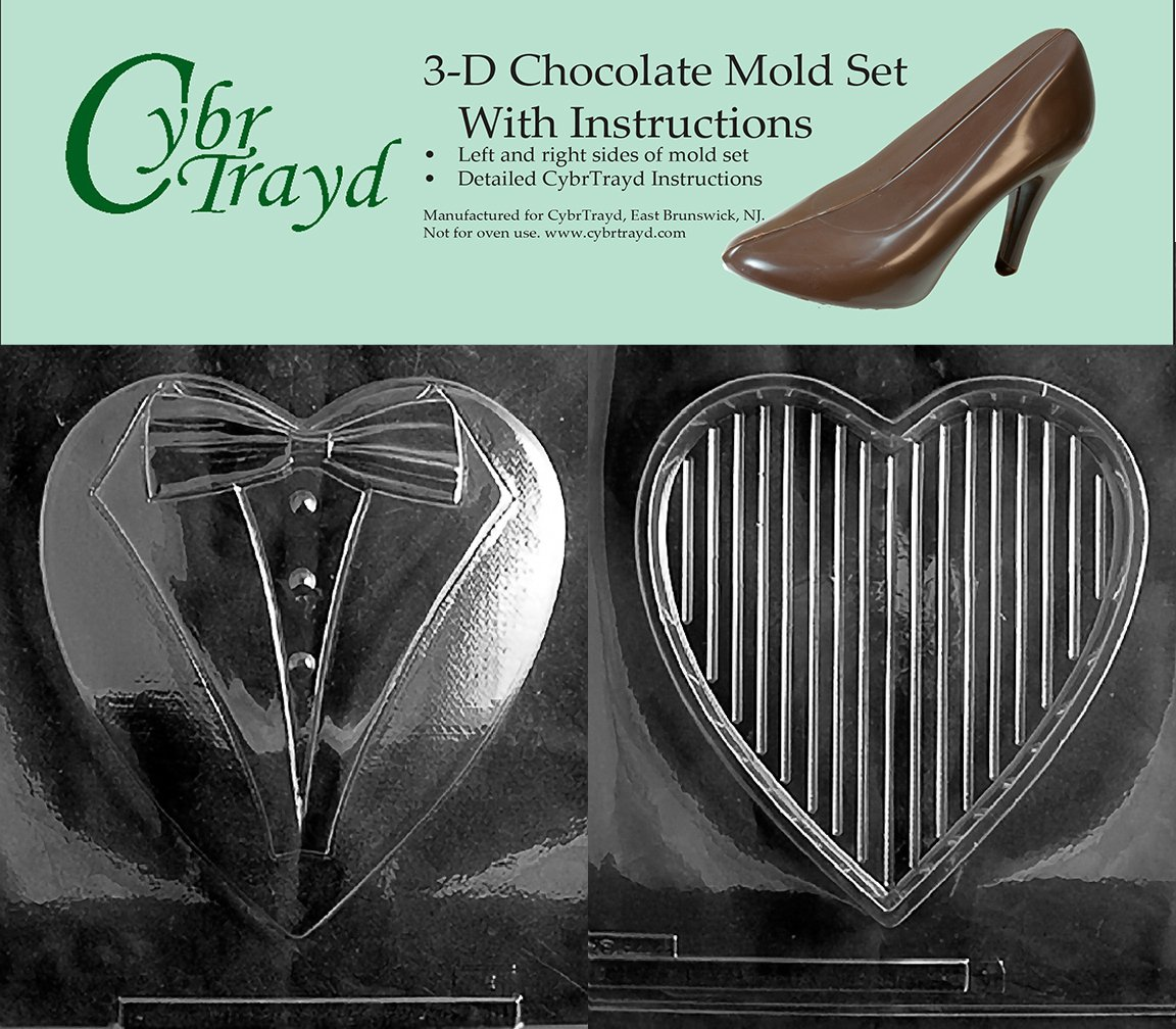 Includes 3D Chocolate Molds Instructions and 2-Mold Kit Cybrtrayd V301AE Chocolate Candy Mold Pour Heart Tuxedo Top