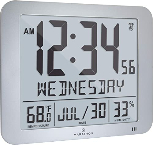 Marathon Slim Atomic Full Calendar Wall Clock with Large 3.25 Digits, Indoor Temperature and Humidity – Batteries Included – CL030067GG Graphite Grey