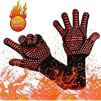 yotame Guanti da Forno, BBQ Guanti da Barbecue Resistenti al Calore a 800 °C Guanti da Cucina Fodera in Cotone e Avambraccio di Protezione Estesa Guanti per Barbecue, Camino e Carbonella etc (1Paio)