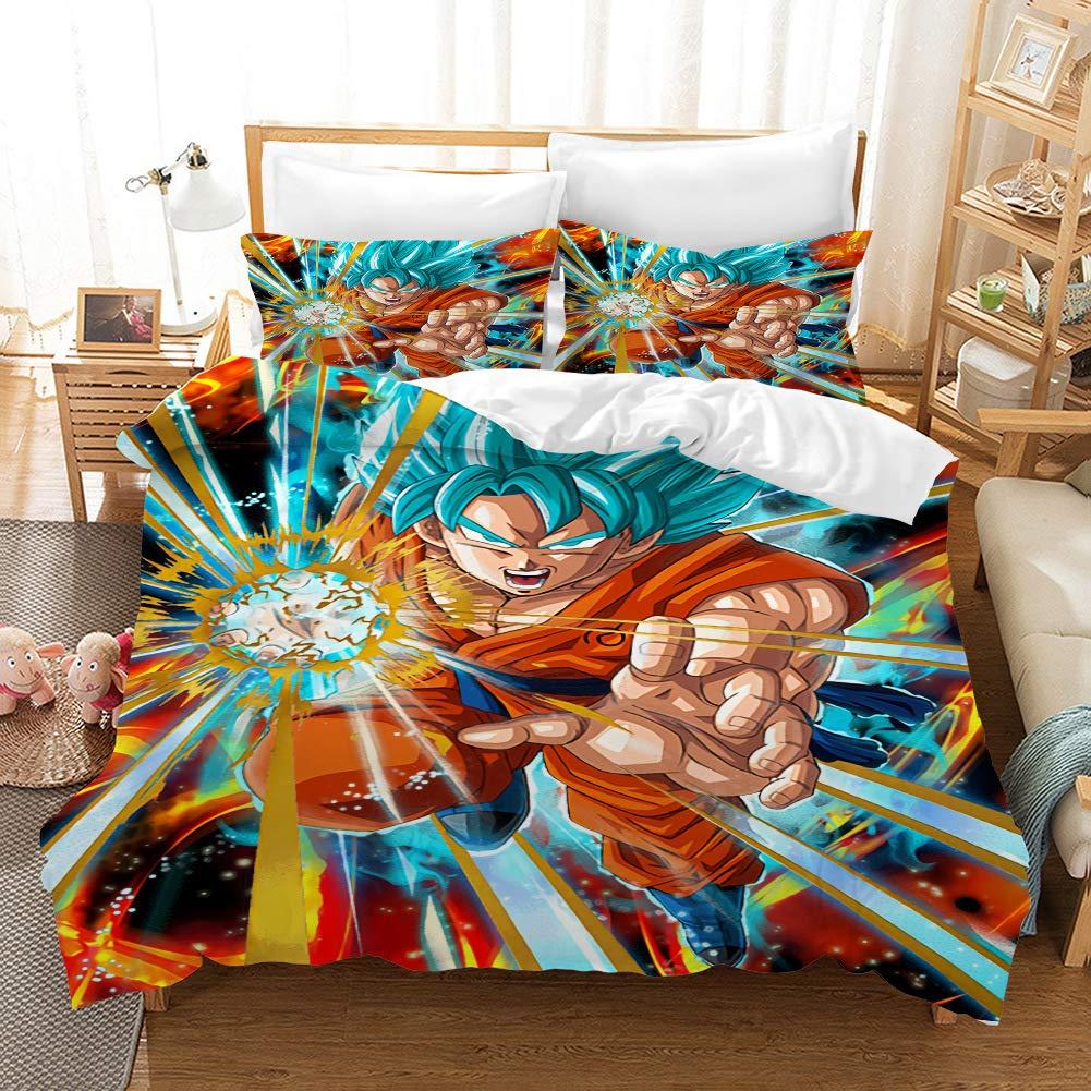 ROMOO 3D Dragonball Z Goku Cotton Duvet Cover Set/Bedding for Teen Boys, Super Saiyan Pattern with Zipper Ties 3PCS 1 Duvet Cover+2 Pillow Shams, Queen