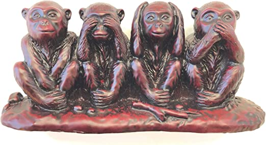 Wood Carving See Speak Hear No Evil 4 Monkey Statues