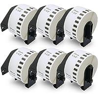 BETCKEY Etiquetas compatible con Brother DK-22225 38mm x 30,48m 6 rollos labels Etiquetas de papel continuo per: QL1050…