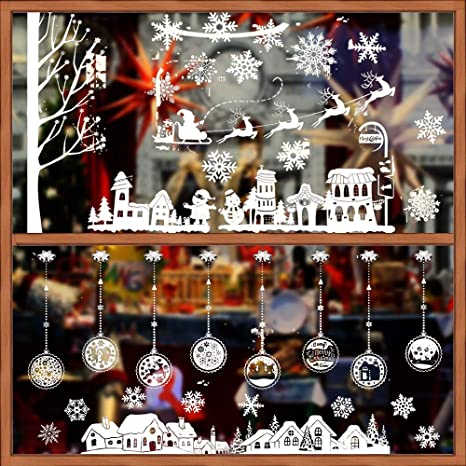Disegni Di Natale X Finestre.Buondac 2 Rotoli Adesivi Finestre Natale Fiocco Di Neve Decorativo Murali Natalizie Decorazioni Inverno Vetrina Vetrine Vetro Negozio Bar