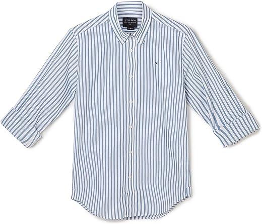 SILBON - Camisa Sport Raya Petroleo para Hombre: Amazon.es ...