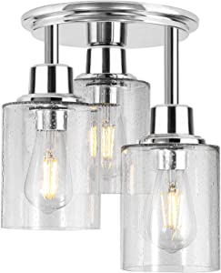 Semi Flush Mount Ceiling Light, 3-Light Close to Ceiling Light Fixtures, Electroplating Chrome Finish with Clear Seeded Glass Shade Chandelier Lighting for Stairs Porch Hallway Entryway Kitchen