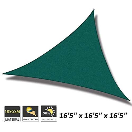 Cool Area 16 5 x 16 5 x 16 5 Triangle Sun Shade Sail for Patio Garden Outdoor, UV Block Canopy Awning, Green
