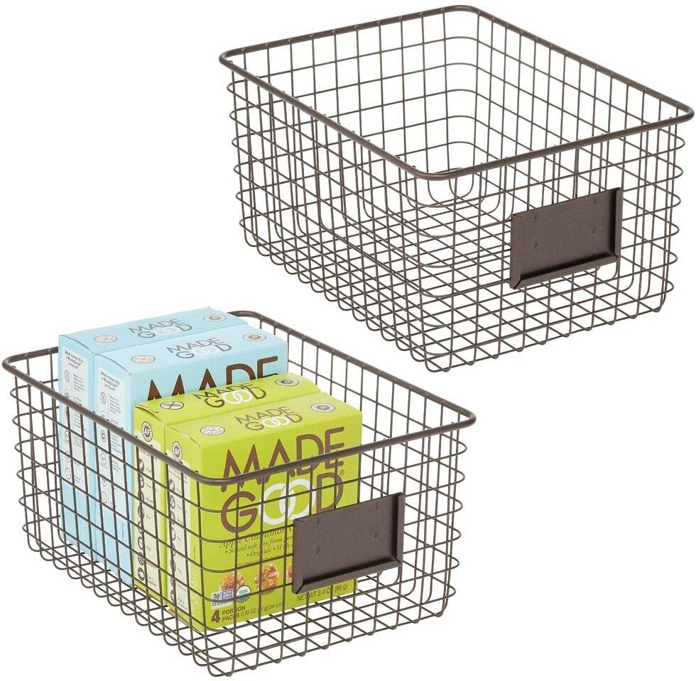 mDesign Set of 2 Wire Storage Basket — Wire Basket for Storing Items Around The Home — Metal Basket for Kitchen, Bedroom, Bathroom and More — 30.5 cm x 22.9 cm x 15.2 cm — Bronze