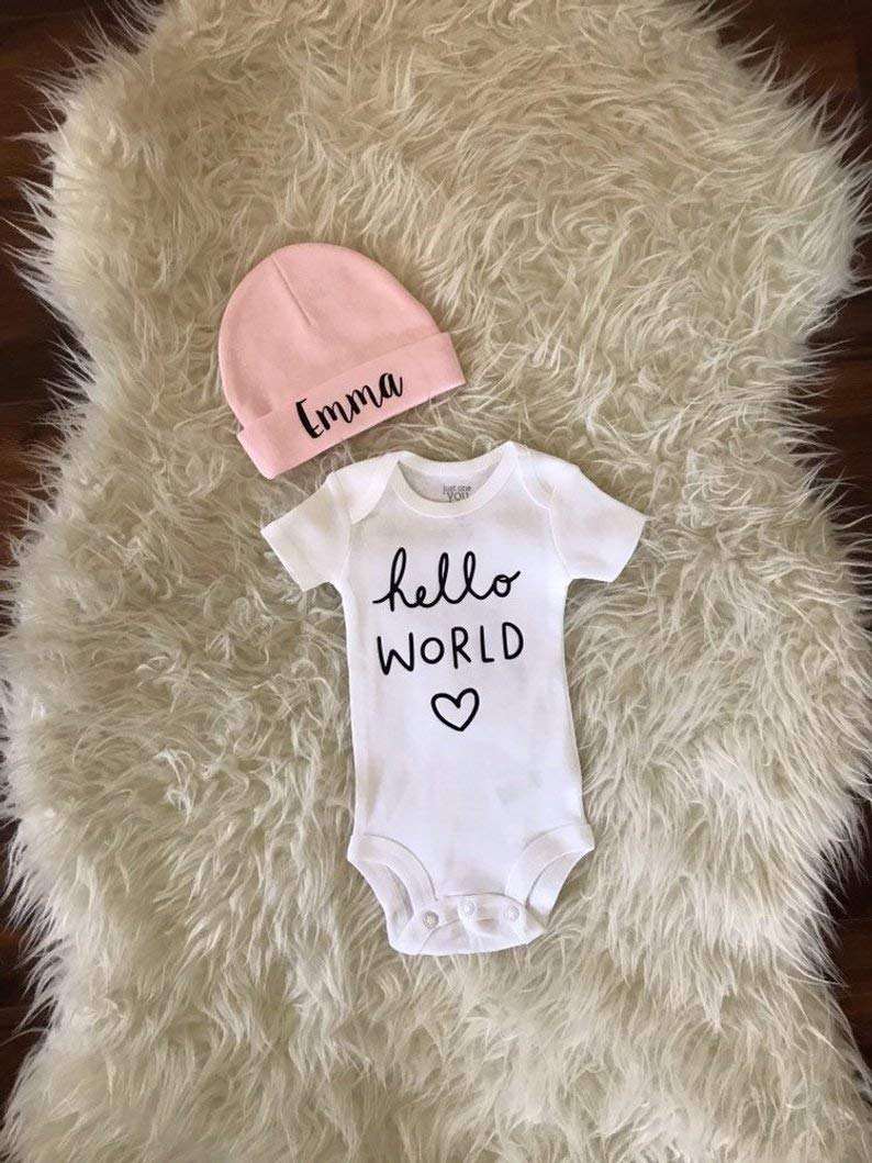 hi I/'m new here baby girl setcustom name coming home outfit newborn girl take home setpersonalized newborn set