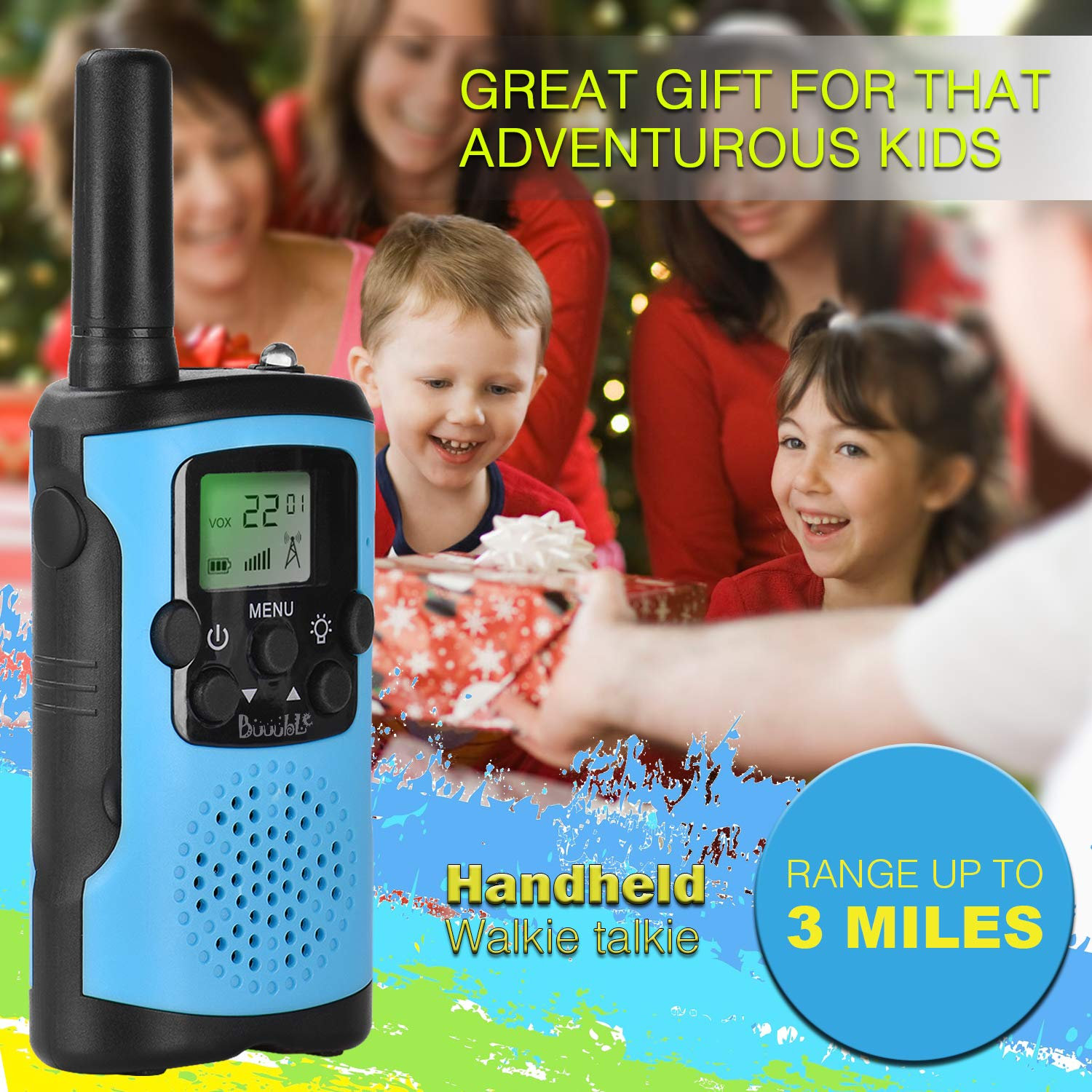 Walkie Talkies for Kids 22 Channel 3 Mile Long Range Many People Use It to Prevent Children's Myopia and Away from Electronic Games Best Birthday Gifts for 4-6 Year Old Boys Girls More Fun Game (Blue) by Buuuble (Image #3)