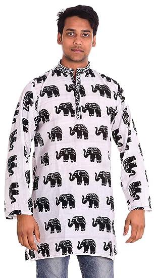 319e9e34b0701 Lakkar Havali 100% Cotton Indian Elephant Print Men s Kurta Shirt Tunic  Loose Fit Plus Size