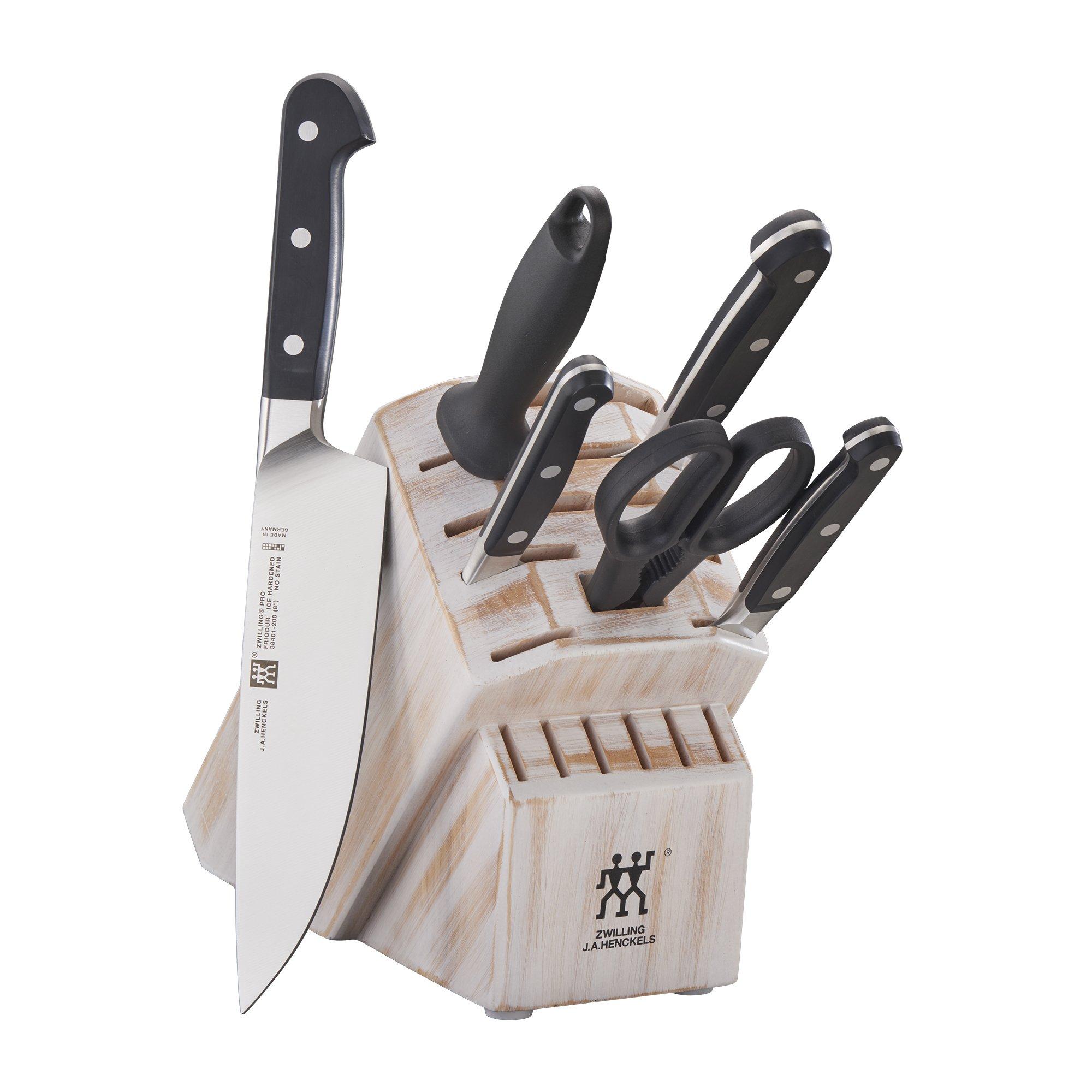 ZWILLING Pro 7-pc Knife Block Set - Rustic White