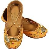 JOPELLE Lovebird Handcrafted Leather Hand-Embroidered Yellow Punjabi Juttis Mojari for Women