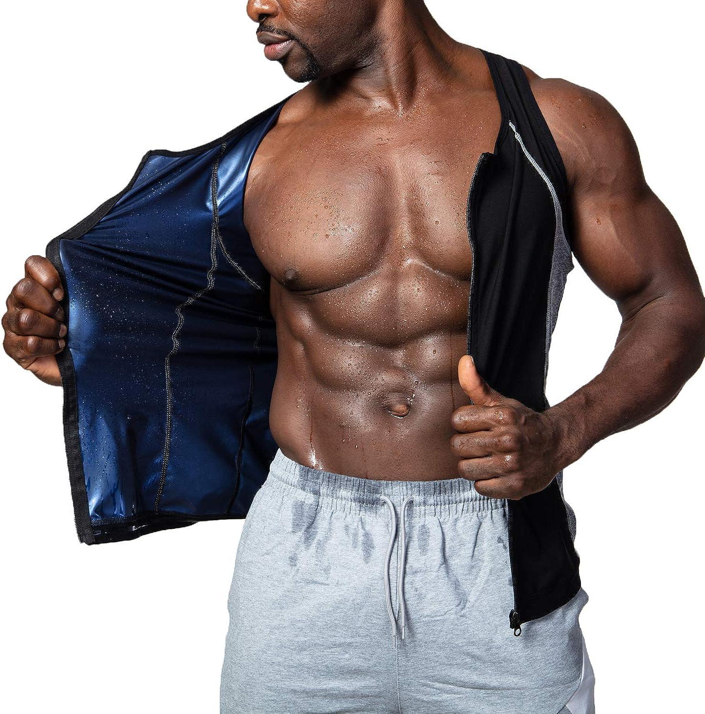 Sauna Sweat Vest for Men Waist Trainer Vest Zipper Polymer Sweat Tank Top Slimming Workout Shirt for Weight Loss