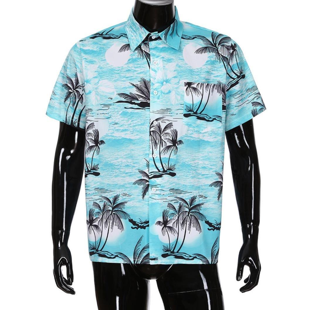 Men Short Sleeve Shirt,Vanvler Male { Floral Hawaiian Shirt } Front-Pocket Blouse Top (S, Blue)