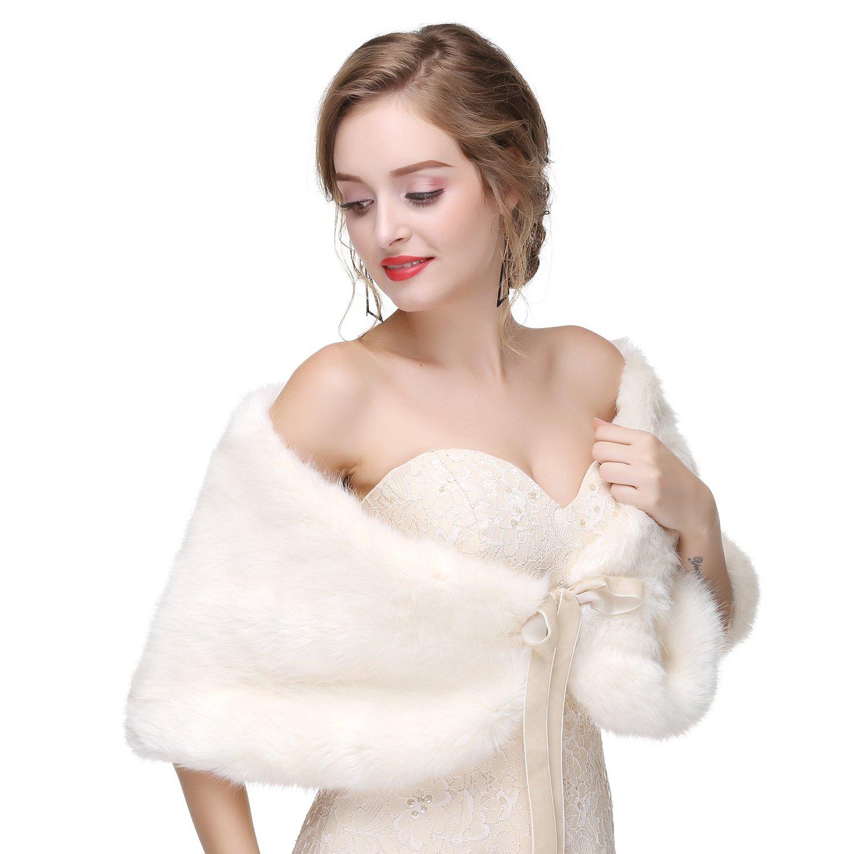 Wowbridal Women's Winter Warm Faux Fur Shawl Coat Jacket Parka Outerwear Tops (Medium, White 2) by WOWBRIDAL (Image #4)