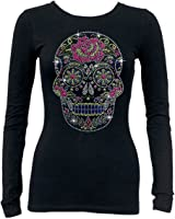 Neon Sugar Skull Rhinestone Long Sleeve T-Shirt Black S-3XL Tee