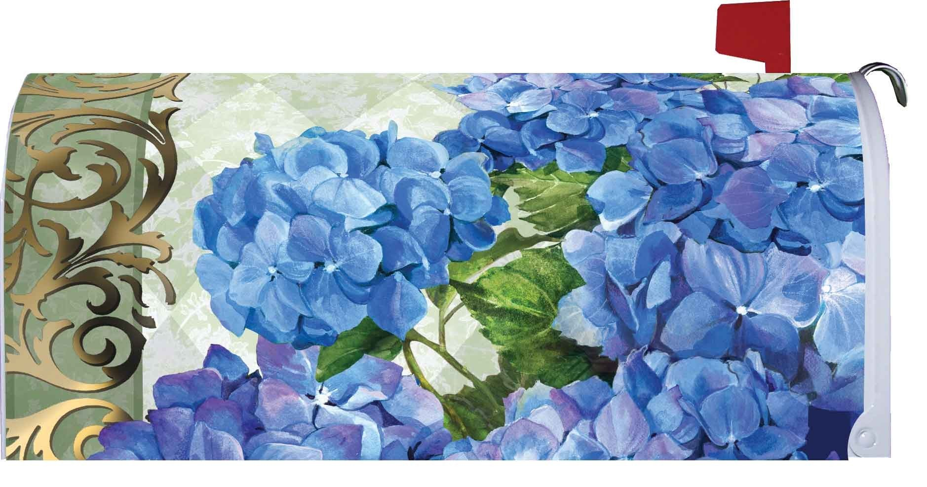 '' Blue Hydrangeas '' - Mailbox Makeover - Vinyl Magnetic Cover