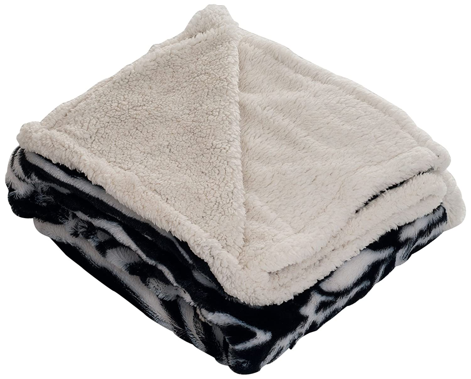 Lavish Home Throw Blanket, Fleece/Sherpa, Zebra
