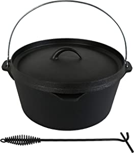 Sunnydaze Large Pre-Seasoned Cast Iron Dutch Oven with Lid and Handle - 8-Quart Metal Pot with 16.5-Inch Lid Lifter