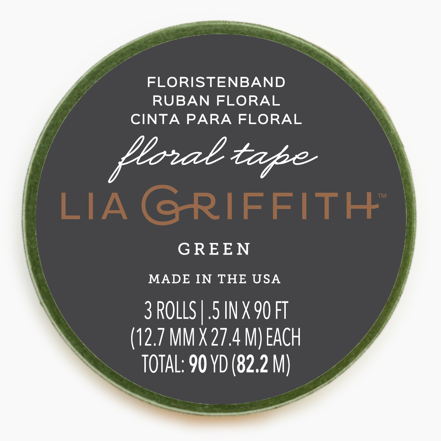 Lia Griffith Wax-Coated Craft Stem Tape, 3-Pack, Moss Green (LG11025) LG11025ST