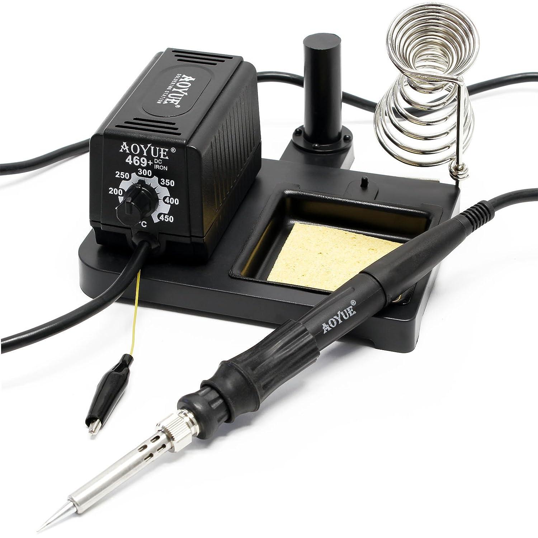 AOYUE 469 estación soldadura compacta cautín elementos calefactores cerámicos PTC 60W lápiz soldar: Amazon.es: Bricolaje y herramientas