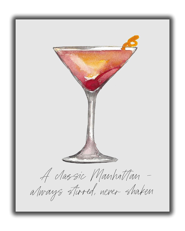 Amazon Com Manhattan Cocktail Bar Wall Art 8x10 Unframed Decor Print Makes A Great Gift For Kitchen Home Wet Bar Martini Wine Or Tiki Bar A Classic Manhattan Always Stirred Never