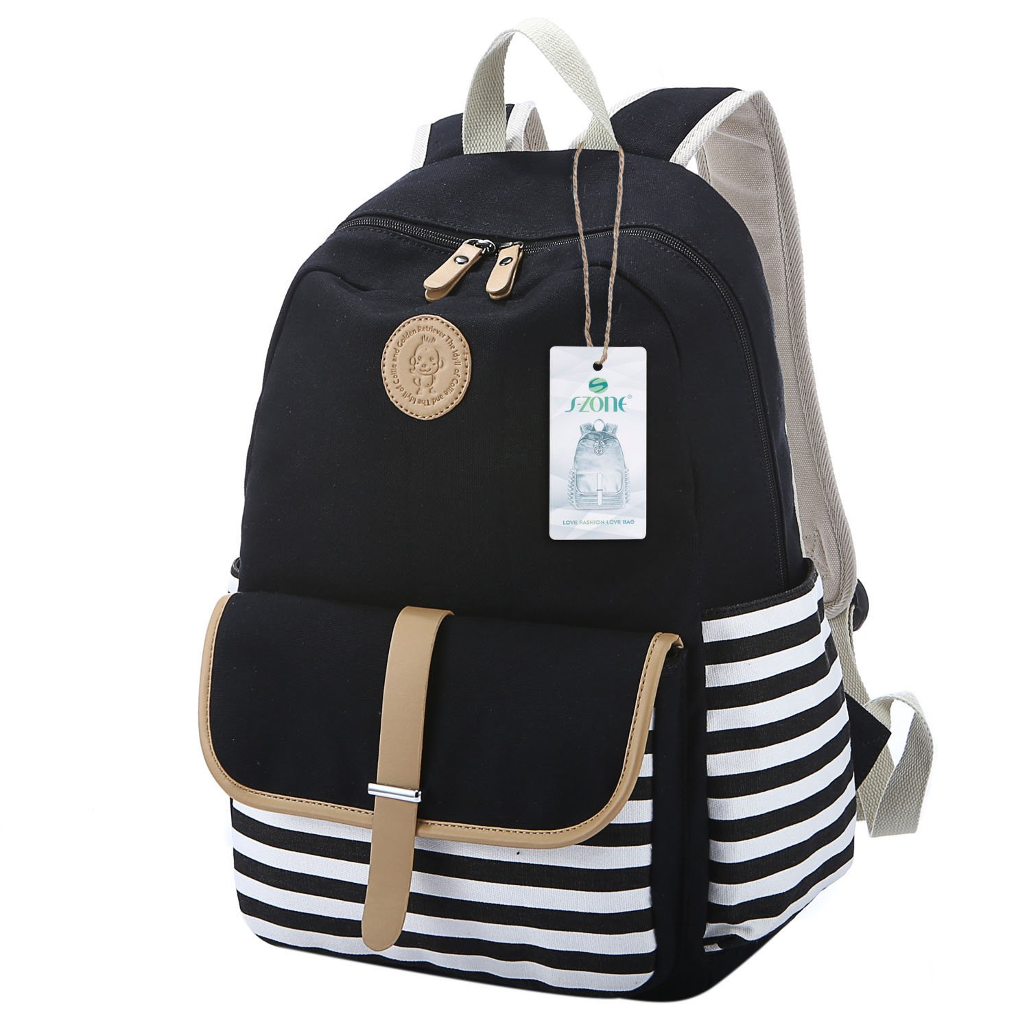 a7eea31ca S-ZONE French Breton Nautical Striped Backpack Rucksack Marine Sailor Navy  Stripy School Bags for Teenager Girls (A-Black): Amazon.co.uk: Luggage
